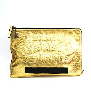 Chanel A82164 Women's Leather Clutch Bag Gold BF338531