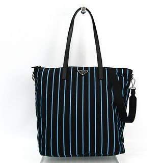 Prada 1BG189 Women's Tessuto Stampato,Leather Tote Bag Blue,Black BF328368