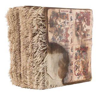Códice Borgia. Facsimilar. México, Siglo XX. Impresión coloreada, montada sobre lino. 76 hojas con explicación, de 20 x 20 cm. cada una