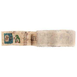 Tira de la Peregrinación o Códice Boturini. Facsimilar. México, Siglo XX. Pintado sobre papel amate, montado sobre lino, 515 x 9.5 cm.