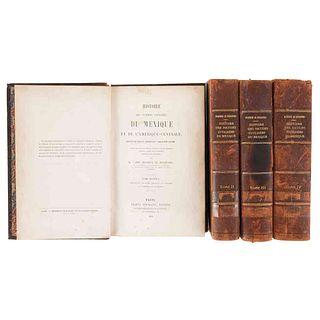 Bourbourg, Charles Étienne Brasseur de. Histoire des Nations Civilisées du Mexique... Paris, 1857-59. Tomos I-IV. Piezas: 4.