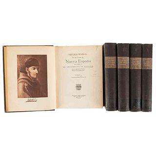 Sahagún, Bernardino de. Historia General de las Cosas de la Nueva España. México, 1938. 24 láminas a color. Tomos I-V. Piezas: 5.