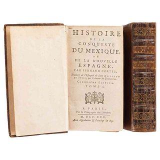 Solis, Antoine. Histoire de la Conqueste du Mexique, ou de la Nouvelle Espagne... Paris, 1730. Tomos I-II. 13 láms. 5a ed. Piezas:2.