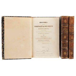 Alegre, Francisco Javier-Bustamante, Carlos María de. Historia de la Compañía de Jesús... México, 1841-42. 5 láms. Tomos I-III. Pzs: 3.