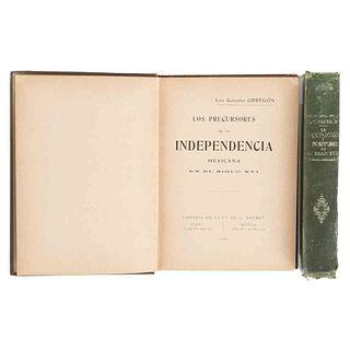 González Obregón. Los Precursores de la Independencia... Siglo XVI / La Inquisición y la Independencia... Siglo XVII. 1ras. ed. Pzs: 2.