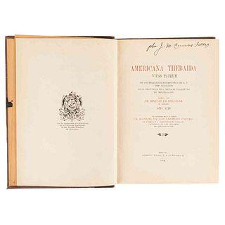 Escobar, Matías de. Americana Thebaida. Vitas Patrum de los Religiosos Hermitaños de N. P. San Agustín... México, 1924. Ilustrado.