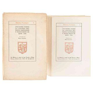 Calleja del Rey, Félix María. Informe sobre la Colonia del Nuevo Santander y Nuevo Reino de León... México, 1949. Ejemplar no. 2.