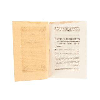 López de Santa Anna, Antonio. Decreto para la Organización de la Nacional y Distinguida Orden Mexicana de Guadalupe. Puebla, 1853.
