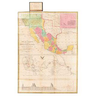 Mitchell, Samuel Augustus. Map of Mexico... Philadelphia, 1847. Mapa coloreado. Ilustra el Progreso de la Guerra de 1847.