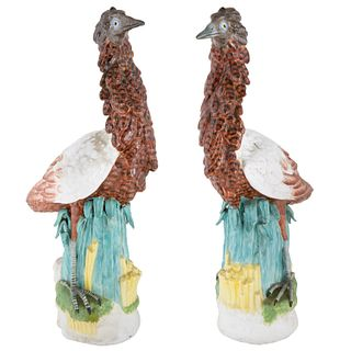 PAIR OF ITALIAN EXOTIC BIRD PORCELAIN FIGURINES, MODELLED AFTER ITALIAN MAJOLICA MODELS, MID-LATE 20TH CENTURY
