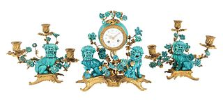 A LOUIS XV THREE-PIECE PORCELAIN CHINOISERIE ORMOLU CLOCK AND CANDELABRA SET, CHURET, PARIS, LATE 19TH-EARLY 20TH CENTURY