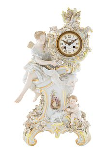 A MEISSEN PORCELAIN CLOCK, RETAILED BY TIFFANY & CO. NEW YORK, MEISSEN,  LATE 19TH CENTURY