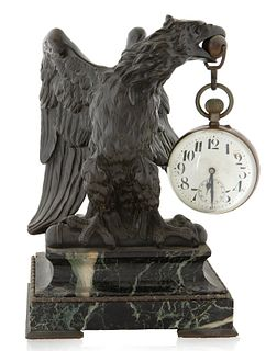 LIKELY A FRENCH BRONZE EAGLE AND MARBLE GLASS BALL CLOCK, MID -20TH CENTURY