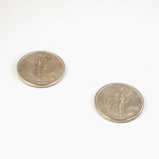 A Pair of Walking Liberty Coins, 1942