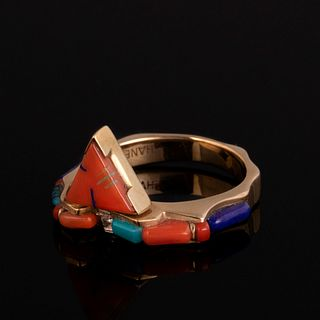 A Thane DeLeon Gold, Lapis Lazuli, Coral and Diamond Ring