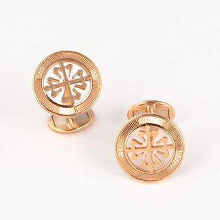 A Pair of Patek Philippe Calatrava Pink Gold Cuff Links