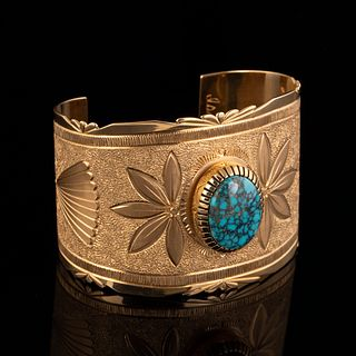An Isaac Dial Yellow Gold and Lone Mountain Turquoise Cuff Bracelet