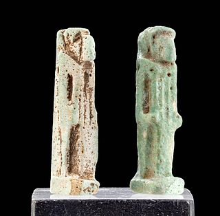 Lot of 2 Egyptian Late Dynastic Faience Amulets