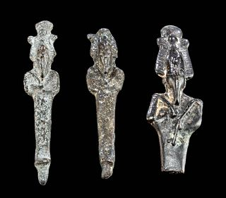 3 Egyptian Late Dynastic Leaded Bronze Osiris Figures
