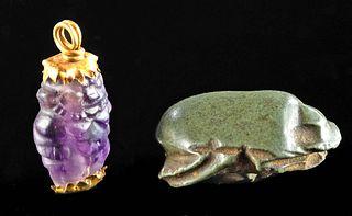 Egyptian Gold & Amethyst Bes & Stone Scarab, Ex Arte