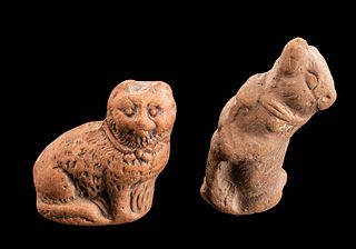 Pair of Romano-Egyptian Pottery Figures - Cat & Dog