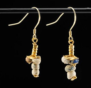 Pair of Roman Gold and Glass Earrings