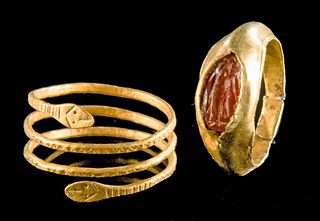 Lot of 2 Roman Gold Rings - Snake & Garnet