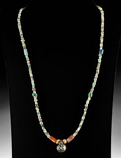Wearable Roman Glass, Stone & Carnelian Bead Necklace