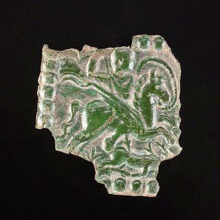 Roman Bronze Repousse Plaque w/ Bellerophon