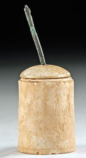 Roman Bone Lidded Pyxis + Bronze Applicator