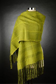 Handwoven Lime Green Mixed Twill Patterend Shawl