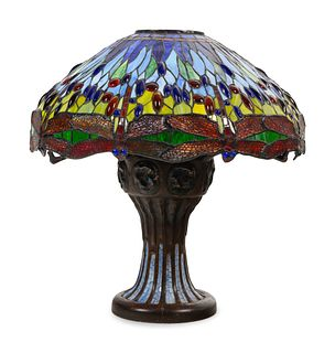 An Art Nouveau Style Cast Bronze and Leaded Glass Dragonfly Table Lamp