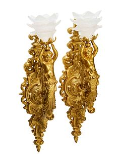 A Pair of Aesthetic Movement Style Gilt Bronze Wall Sconces