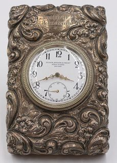 Ornate Sterling Desk Clock