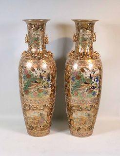 Monumental Pair of Satsuma Urns