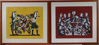 Two Sadao Watanbe Japanese Stenciled Prints
