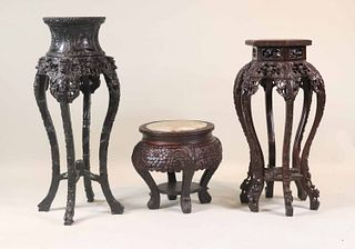 Three Chinese Stone Inset Carved Hardwood Stands