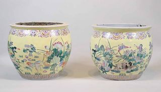 Pair of Chinese Yellow-Glaze Porcelain Fish Bowls