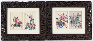 Pair of Chinese Diptych Paintings on Rice Paper
