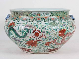 Chinese Famille Vert Porcelain Jardiniere