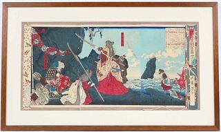 Woodblock Print, Yoshitashi, Empress Warrior