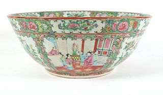Chinese Rose Medallion Porcelain Punch Bowl