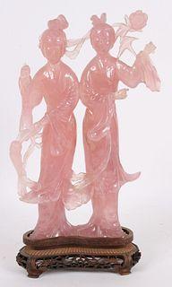Chinese Rose Quartz Two Female Figures