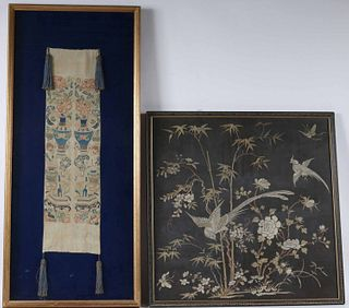 Chinese Silk Embroidery of Birds and Bamboo