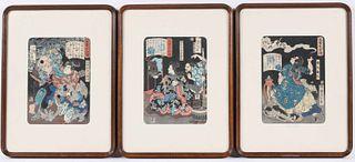 Three Woodblock Prints, Tsukioka Yoshitoshi