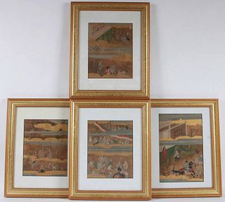 Four Japanese Gilt-Decorated Paintings of Figures
