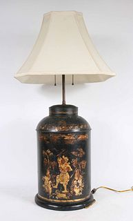 Chinese Chinoiserie Decorated Tole Tea Cannister