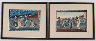 Two Japanese Prints, Figures, Toyokimi