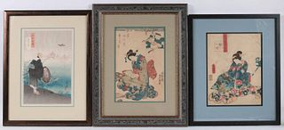 Two Japanese Woodblock Prints of Geishas