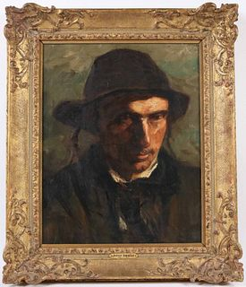 Jozef Israels Oil on Canvas Portrait of Gentleman